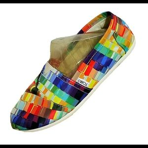 TOMS Rainbow Pixel Slip On Canvas Shoes Size 6.5